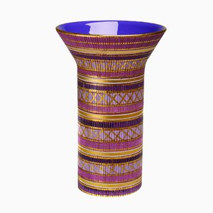 Purple / Pink / Gold Vase with Geometrical Pattern by Aldo Londi for Bitossi