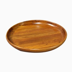 Large Danish Round Teak Tray, 1960s