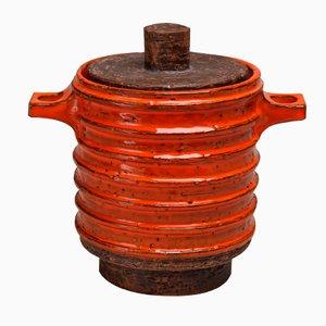Tabacchiera con coperchio arancione e marrone di Aldo Londi per Bitossi
