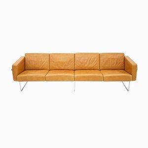 Sofá de cuatro plazas suizo de cuero de Hans Eichenberger para Strässle, años 70