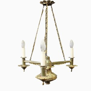 Lámpara de araña vintage de latón, 1930