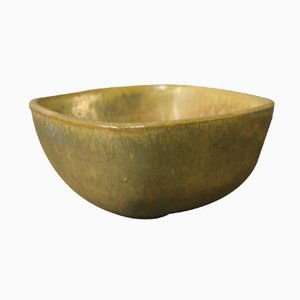 Green and Brown Ceramic Bowl by Jacob Bang for Nymølle, 1980s