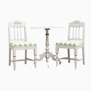 Antiker Gustavianischer Tisch mit Stühlen, 3er Set
