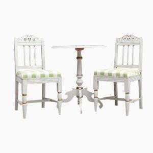 Tavolo e sedie antichi in stile gustaviano, set di 3