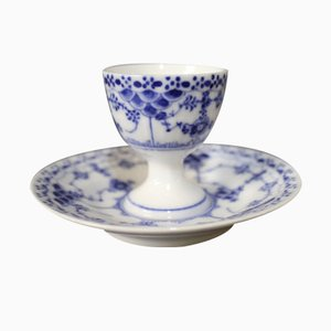 Blue Fluted Half Lace Egg Cup by Arnold Krog for Royal Copenhagen