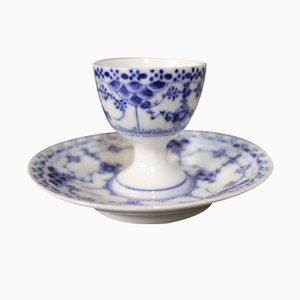 Taza para huevo en azul de encaje acanalado de Arnold Krog para Royal Copenhagen