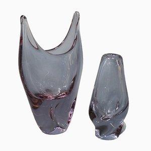 Jarrones daneses de vidrio en rosa y morado, años 80. Juego de 2