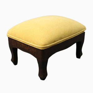 Small Danish Mahogany and Yellow Fabric Footstool, 1950s