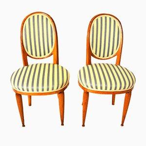 Französische Art Deco Nussholz Stühle von Paul Follot, 1920er, 2er Set