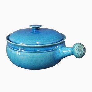Scodella con coperchio in ceramica blu di Hermann Kähler, Danimarca, anni '60