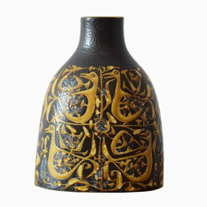 Danish Vase with Bird Motif by Nils Thorsson for Aluminia / Royal Copenhagen, 1970s
