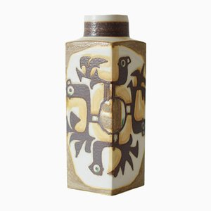 Danish Tall Vase with Bird Motif by Johanne Gerber for Aluminia / Royal Copenhagen