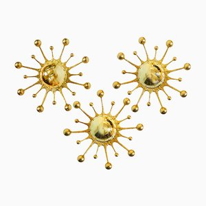 Applique da parete a forma di fiocchi di neve in ottone dorato di Palwa, Germania, anni '60, set di 3