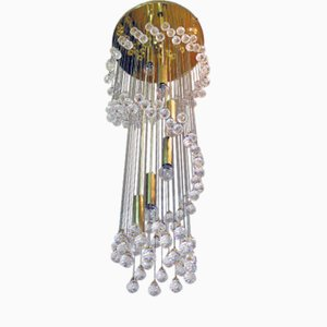 Lámpara de araña muy grande en forma de espiral con bolas de cristal de Ernst Palme para Palwa, años 60