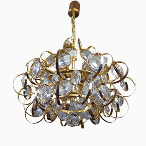 German Sputnik Gold-Plated Crystal Chandelier from Palwa, 1960s
