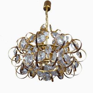 Lámpara de araña Sputnik alemana de cristal bañada en oro de Palwa, años 60