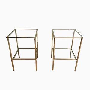 Messing und Glas Couchtische, 1960er, 2er Set
