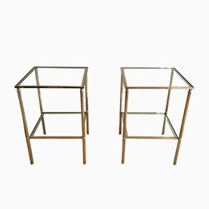 Tables Basses en Laiton et en Verre, 1960s, Set de 2