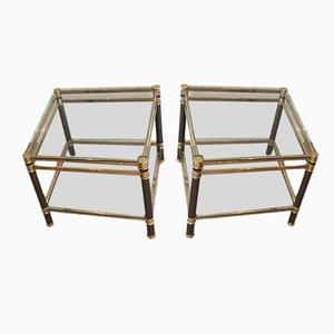 Mesas de centro de vidrio y latón, años 70. Juego de 2