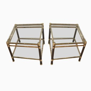 Tables Basses en Verre et en Laiton, 1970s, Set de 2