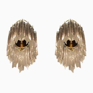 German Gold Plated Wall Sconces with Crystal Glass from Palwa, 1960s, Set of 2