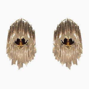 Vergoldete Deutsche Wandleuchten aus Kristallglas von Palwa, 1960er, 2er Set