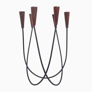 Skulpturaler Dänischer Vintage String Kerzenhalter aus Teakholz