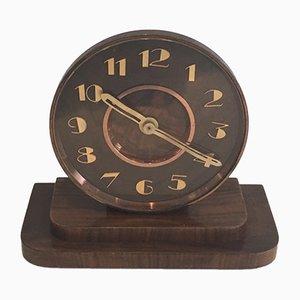 Horloge Vintage Art Déco en Laiton et en Bois