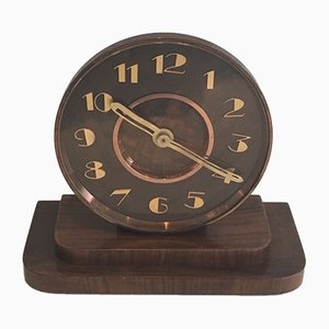 Vintage Art Deco Brass and Wood Clock