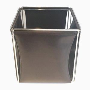 Vintage Chrome & Leatherette Paper Basket, 1970s