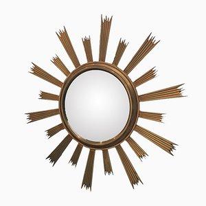 Espejo vintage de latón con forma de radiación solar, años 70
