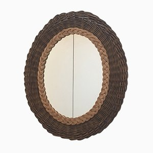 Vintage Braided Rattan Mirror