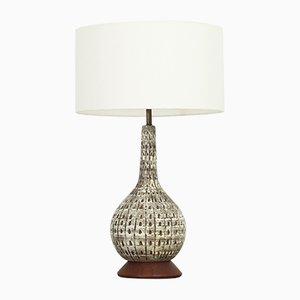 Große Glasierte Amerikanische Mid-Century Keramik Tischlampe, 1950er