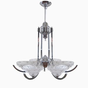 Große Französische Art Deco Glas & Chrom Lampe, 1930er