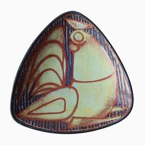 Dänische Dreieckige Mid-Century Schale mit Gockel Motiv von Marianne Starck für Michael Andersen & Son, 1960er