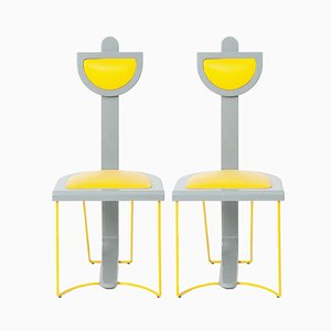 Vintage Grey and Yellow Chairs, 1980s, Set of 2