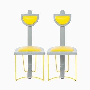 Vintage Stühle in Grau & Gelb, 1980er, 2er Set
