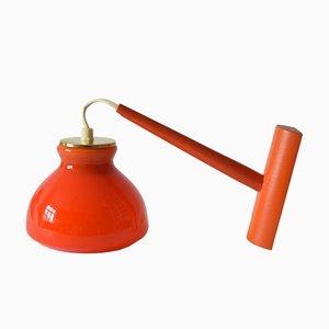 Dänische Vintage Wandlampe aus Orangenfarbenen Glas von Holmegaard