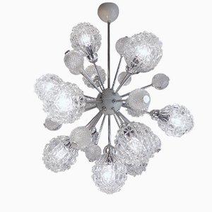 Lámpara de araña Sputnik grande de cristal burbuja con doce luces de Richard Essig, años 60