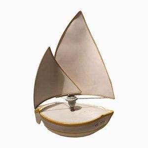 Lámpara italiana vintage con forma de barco blanco, años 70