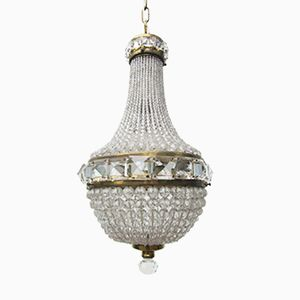 Französischer Vintage Kristallperlen Kronleuchter