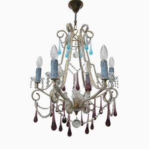 Lámpara de araña italiana vintage con cuentas de cristal, 6 luces y gotas azures y moradas