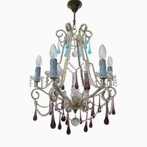 Vintage Italian Crystal Beaded 6-light Chandelier with Purple & Azure Drops