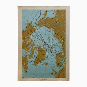 Vintage Mid-Century German Wall Chart of the North Pole by Jürgen Schulz for Fricke & Co, 1950s