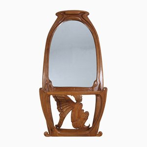 Art Nouveau Oak Mirrored Hall Stand