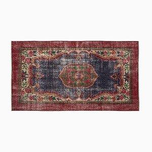 Eingefärbter Vintage Teppich in Rot & Blau