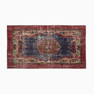 Red and Blue Over Dyed Vintage Rug