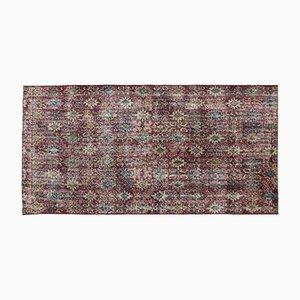 Türkischer Floraler Überfärbter Vintage Teppich