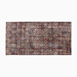 Turkish Over Dyed Vintage Rug with Floral Pattern