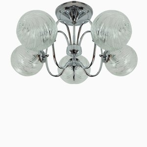 Five Globe Sputnik Orbit Chandelier in Chromed Metal and Glass from Honsel Leuchten